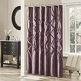 Plum Curtains Madison Park Laurel Satin Polyester Shower Curtain, Plum