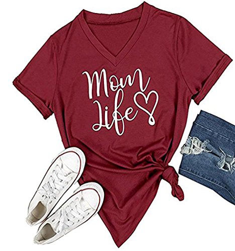 DANVOUY Summer Womens T-Shirt Casual Cotton Letters Printed Graphic Tees Short Sleeve V-Neck Tops