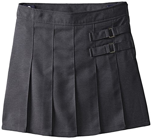 French Toast Big Girls' Two-Tab Pleated Scooter, Grey, 7 by French Toast