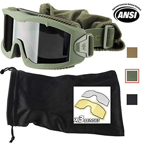 (Lancer Tactical AERO 3mm Thick Dual Pane Lens Eye Protection Safety Goggle System ANSI Z87 1 Rated Industry Standard Panel Ventilated w/Anti-Scratch Shield Fully Adjustable (OD Green / 3 Lens))