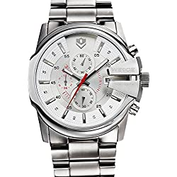 WEIDE waterproof multifunction business casual men's watches - white