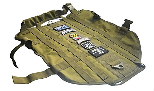 NEW TACTICAL POLICE K9 DOG VEST HARNESS MOLLE USA MILSPEC CANINE HOOK US MILITARY Vest M-XL GREEN COLOR (XL)
