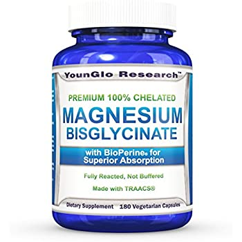 Magnesium Glycinate Plus BioPerine - 180 Vegan Non-GMO Capsules - 100% Pure Chelated TRACCS High Absorption Bisglycinate (1 Pack)