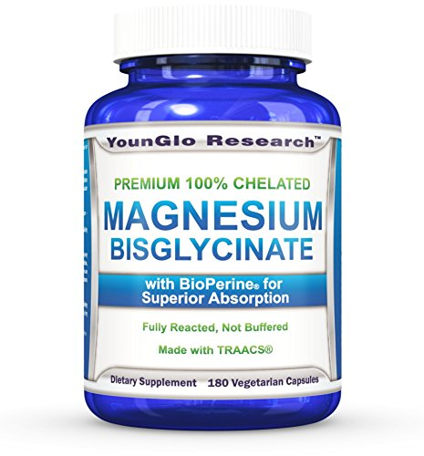 Chelated Magnesium Glycinate plus BioPerine for Superior Absorption - 180 Vegetarian Capsules (1 Pack) (Magnesium Citrate Usp)