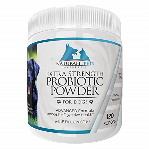 Naturafitpets Probiotic Powder for Dogs Extra Strength - 120 Servings Per Tub. Advanced Formula Scoops for Digestive - Address Shipping Canada