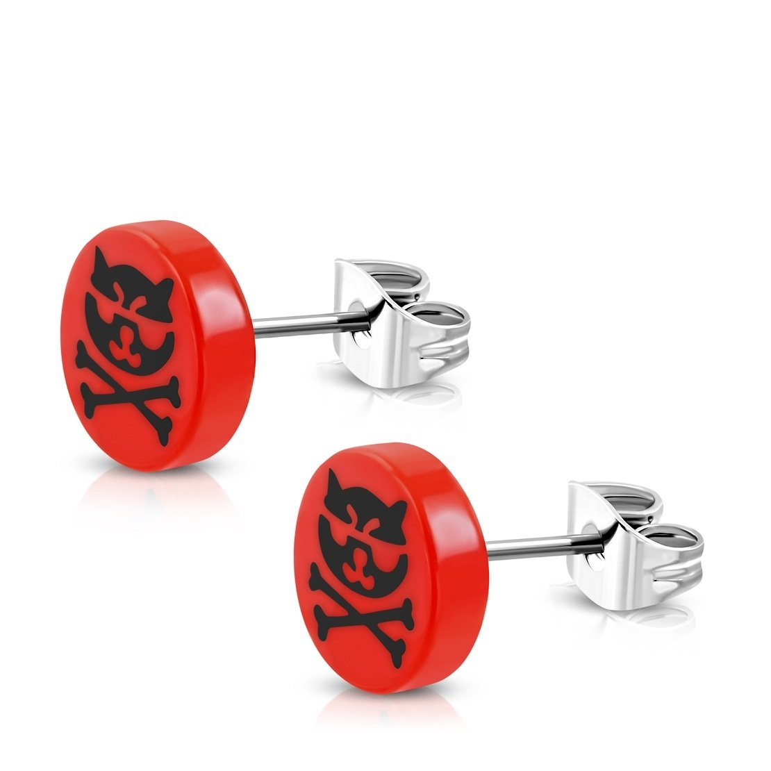 pair Stainless Steel Stud with Red Acrylic 3 Color Cat Crossbones Round Circle Earrings