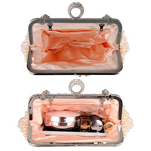 de Forma Noche Fiesta con Rosa concha Bolsa Cristal Bolsa para Bolsa Mujer Boda Perlas Baglamor Bolsa de Hermoso Navidad de de tW07BTxqp