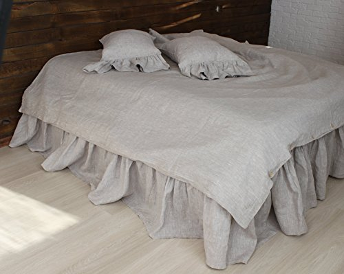 Romantic Pure Linen Bed Skirt with Ruffles in Natural Linen Oatmeal, White or Grey Colors