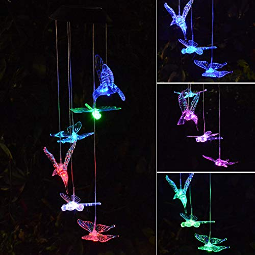 - Chasgo Solar Wind Chimes Hummingbird Butterfly Dragonfly, Hanging Solar Garden Lights Changing Colors Solar Lights Outdoor Decoration for Garden Backyard Patio Porch Decor