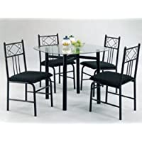 ACME 02520BK Penelope 5-Piece Dining Set, Black Finish