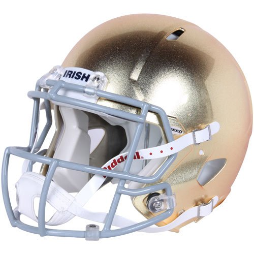 NCAA Riddell Notre Dame Fighting Irish Authentic Full-Size Speed Helmet Textured Gold Finish by Riddell