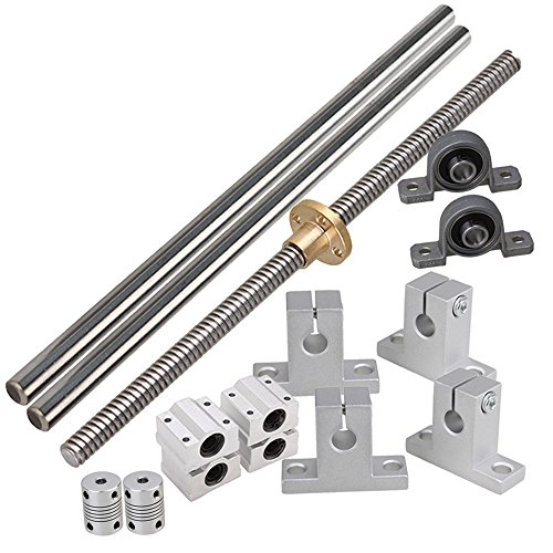 BQLZR Horizontal 200mm Optical Axis & 2mm Lead Screw with Nuts Rail Shaft Support Slide Bushing Bearing Block & CNC Stepper Coupler Pack of 15