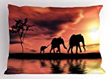 Ambesonne Elephant Pillow Sham, Elephant Silhouettes by River Africa Animals Adventure Landscape, Decorative Standard King Size Printed Pillowcase, 36 X 20 inches, Dark Coral Yellow Seal Brown