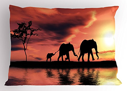 Ambesonne Elephant Pillow Sham, Elephant Silhouettes by River Africa Animals Adventure Landscape, Decorative Standard Size Printed Pillowcase, 26 X 20 inches, Dark Coral Yellow Seal Brown