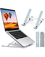 """Laptop Stand for Desk, TEUMI Aluminum 9-Levels Adjustable Portable Computer Stand Laptop Cooling Pad, Ventilated Laptop Riser Compatible with MacBook Pro Air, Notebook, Lenovo, Dell, 10-15.6"""" Device"""