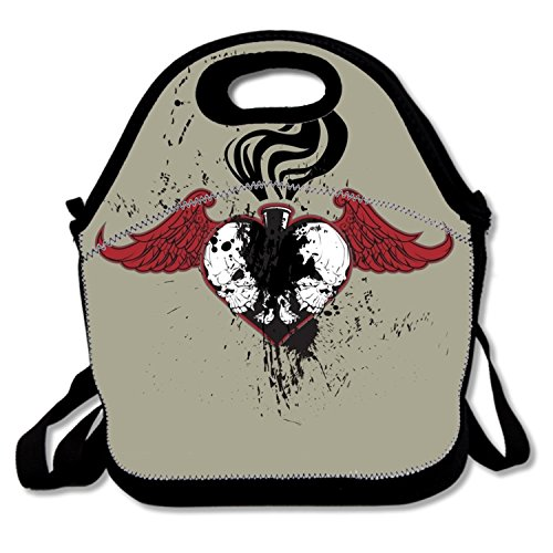 Customized Food Handbag Winged Skulls Heart Thermal Cooler Tote Insulated Thermal For Boys (Winged Handbag Heart)