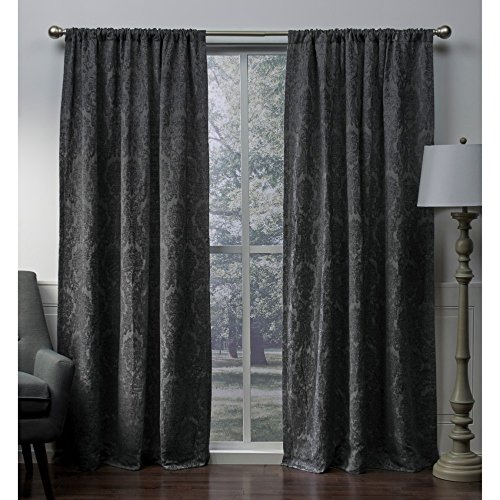 Exclusive Home Damask Medallion Heavyweight Chenille Jacquard Room Darkening Rod Pocket Window Curtain Panel Pair, Soft Grey, 52