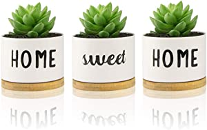 Home Sweet Home, 3.5 Inch Succulent Pots 3-Pack White Ceramic Planter with Bamboo Trays,Small Plant Pots, House Warming Gift
