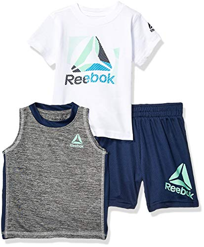 - Reebok Baby Boys Sleeve Athletic T-Shirt, Tank Top, and Short Set, Sionar Navy, 24M