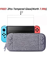 Switch Case and Tempered Glass Screen Protector for Nintendo Switch - Fits AC Wall Charger Adapter, Hard Shell Protective Travel Carrying Case Pouch for Nintendo Switch Console &Accessories by MayBest