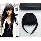 Full Shine Air Fringe Natural Color Clip in Clip on False Bang Neat Fringe Real Human Hair Extensions