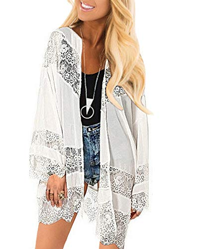 Celmia Women Loose Kimono Cardigan Shawl Chiffon Lace Crochet Flower Blouses Top