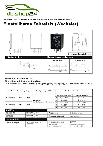 Universal Multitimer Zeitrelais 12V 0,5 sek. bis 6 std.: Amazon.de: Auto