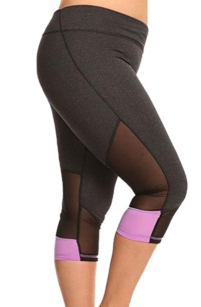 6cd0b52952455 Appleletics Women s Plus Size Mesh Panel Workout Yoga Capri Leggings  (XXX-Large
