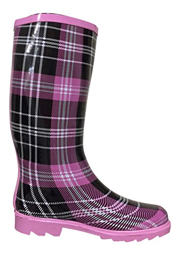 Rubber Black PSW Boots MSTKH Rain Womens Pink Plaid 1qxBYxHwFE