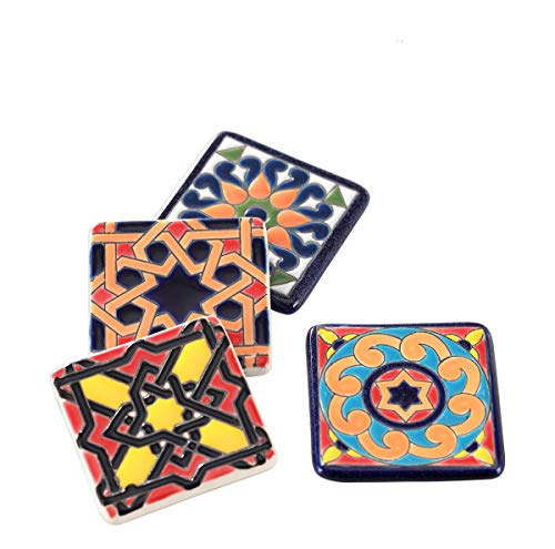 Square Fridge Magnets 5.5cm Hand Painted Ceramic Refrigerator Magnets Strong for Home,Office,Cabinet,Lockers,Whiteboard, Set of 4 pieces XUFENG (Style B)
