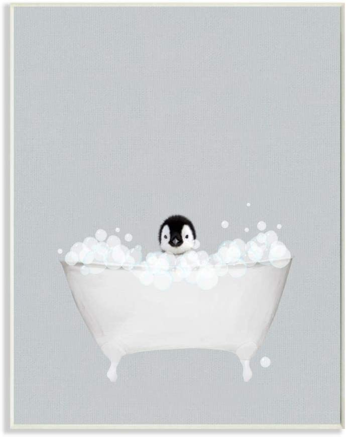Stupell Industries Penguin Blue Bath Cute Animal Design Wall Plaque 10 x 0.5 x 15 Designed by Leah Straatsma Art