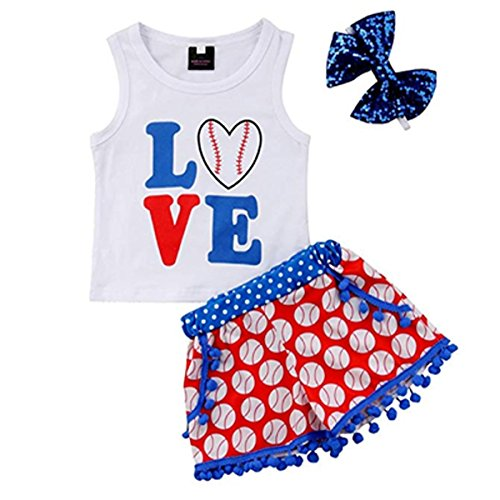 Newborn Baby Girls 3 Pcs Outfits 4th of July Letter Vest Top and Baseball Pompom Shorts Pants Set with Headband (Blue, 12-18 -