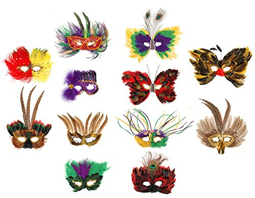 Darice FM500 Mardi Gras Feather Face Masks with Strap (Pack of 1, Assorted Styles)