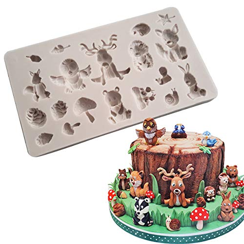 Forest Chocolate Cake - Tangker DIY Forest Animal Silicone Fondant Mold Sugarcraft Cake Decorating Tools Chocolate Clay Mold