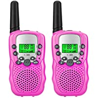 Kids Walkie Talkie Two Ways Radio Toy Walkie Talkies for Kids 22 Channels Built in Flash Light 500 m Long Range (MAX 1000M Open Field) for Outdoor Adventures Camping Hiking Set of 2 (Pink)