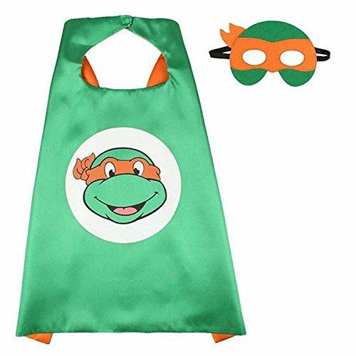 ERT13 Dress Up Comic Cartoon Superhero Costume With Satin Cape and Matching Felt Mask (Girl Ninja Turtle Costume)