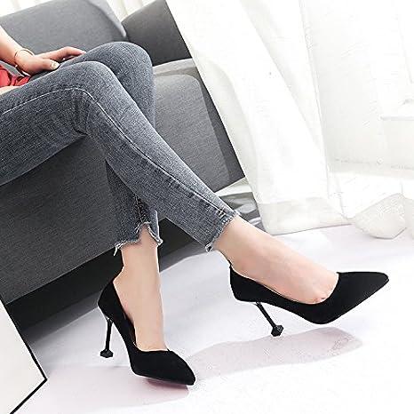 59f9a0b63353a SDKIR-Solo Zapatos Mujeres Sexy Tacones Altos Zapatos De Tacon Profesional  Las Tazas Y Los Zapatos De Las Mujeres Black Treinta Y Cinco  Amazon.es   Deportes ...