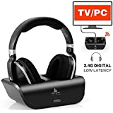 Wireless TV Headphones Over Ear Headsets - Digital Stereo Headsets with 2.4GHz RF Transmitter, Charging Dock, 100ft Wireless Range and Rechargeable 20 Hour Battery, Black