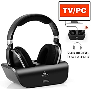 Wireless TV Headphones Over Ear Headsets - Digital Stereo Headsets with 2.4GHz RF Transmitter, Charging Dock, 100ft Wireless Range and Rechargeable 20 Hour ...