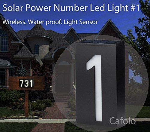 Solar Powered House Address Number LED Light, Bright Wireless Custom House Plaque Plate - Waterproof Light Sensor -for Patio Path House Garden-Number #1~ by Cafolo (Solar Led Light Address)