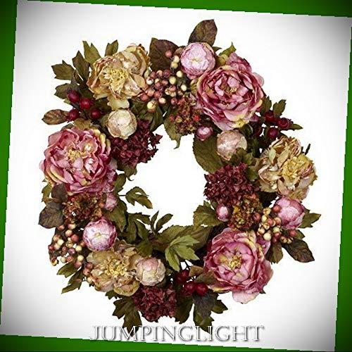 JumpingLight 4930 24'' Peony Hydrangea Wreath Artificial Flowers Wedding Party Centerpieces Arrangements Bouquets Supplies