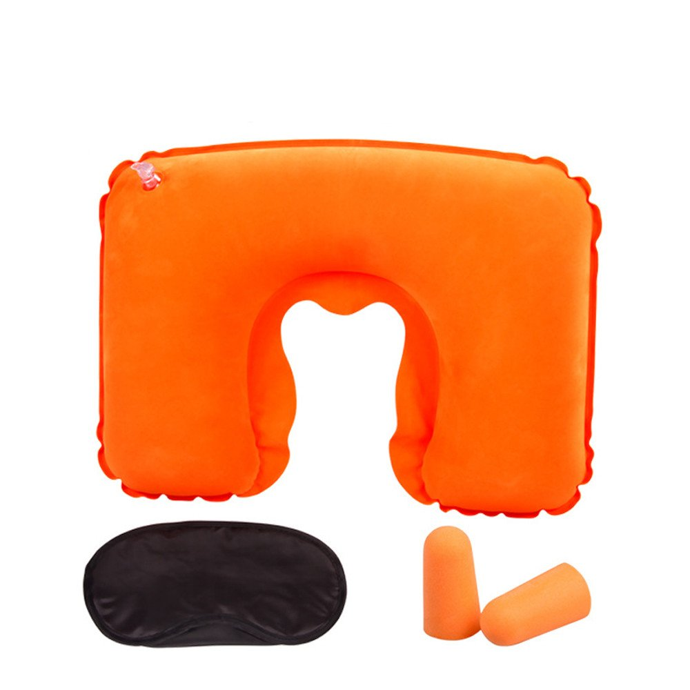 Saying 3Pcs/Set Travel Pillow, Inflatable Neck Pillow with Ear Plugs and Eye Mask, Luxuriously Soft Washable Cover for Lightweight Support in Airplane, Train, Never Mind Neck Pain (Orange)