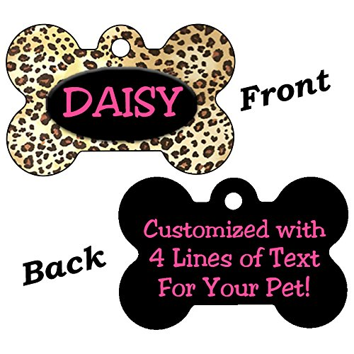 Double Sided Leopard Print Pet Id Dog Tags Personalized With 4 Lines of Text (Black)