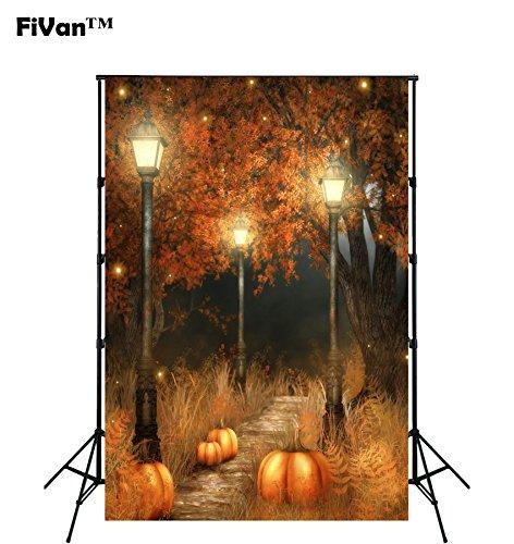 FUS Halloween Backdrop Wallpaper Decors Children Photo Background Party Decorations Pumpkin and Street lights (Halloween Party Titles)