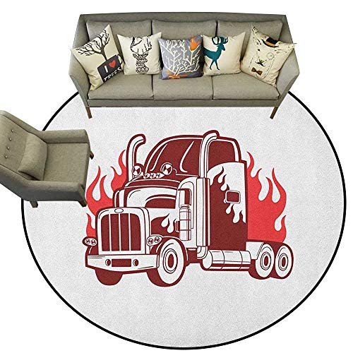 Fire Truck Hooked Rug - 8