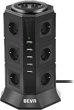 12 Fach 5 Usb TESSAN 12 Fach Steckdosenleiste 5 USB Mehrfachsteckdose mit