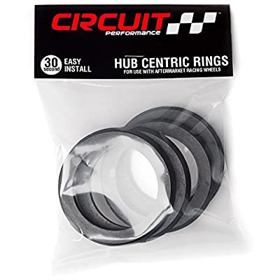 Circuit Performance 73.1mm OD to 57.1mm ID Black Plastic Polycarbonate Hub Centric Rings: Automotive