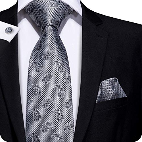 Hi-Tie Men Grey Silver Paisley Pattern Tie Necktie with Cufflinks and Pocket Square Tie Set