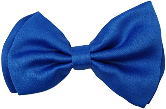 New formal men/'s polyester pre tied Bow tie wedding party stripes royal blue