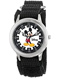 Kids' W000239 Mickey Mouse Stainless Steel Time Teacher Watch with Black Nylon Band
